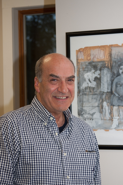 Peter Cascone with his artwork